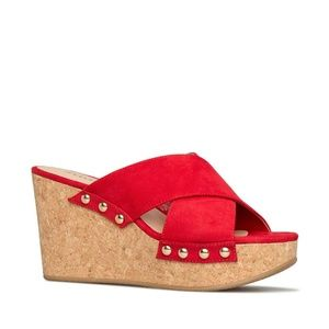 NIB Red Jil Wedge Sandal